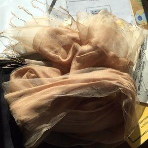 Dreamy handmade gold gauze chiffon scarf
